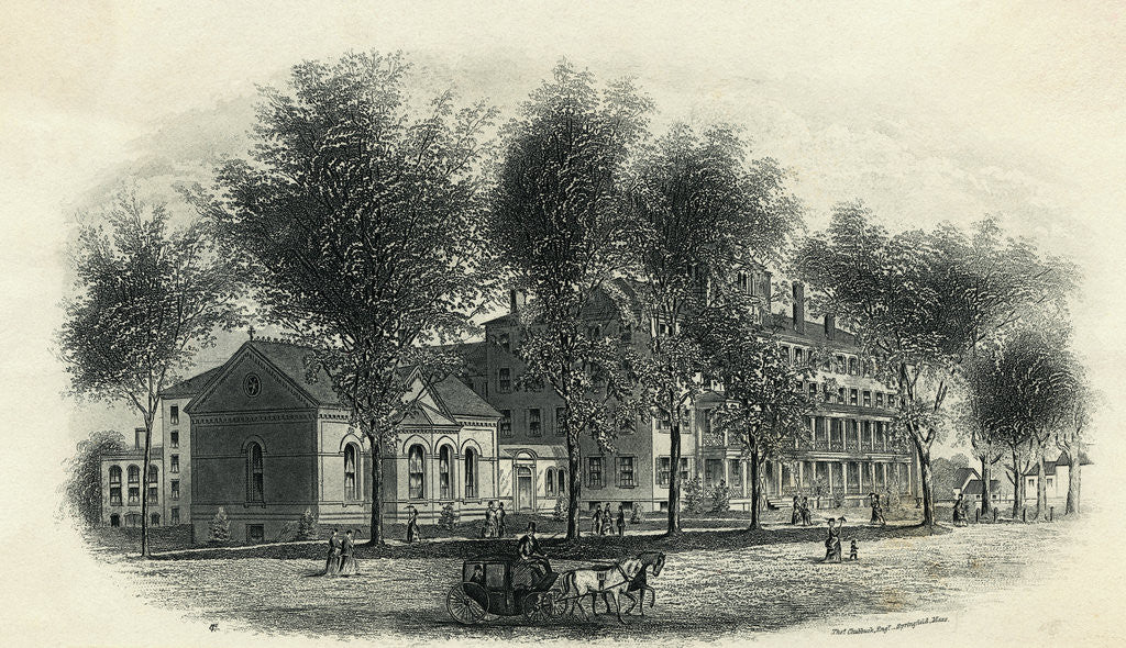 Detail of Illustration of Mount Holyoke Seminary by Corbis