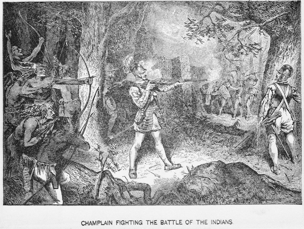 Detail of Champlain Fighting Indians by Corbis