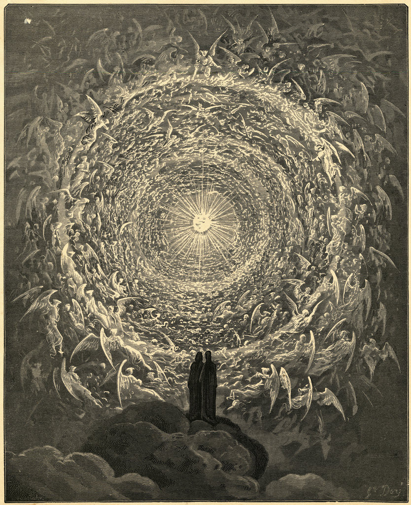 Detail of Scene from Dante's Paridiso Engraved by Gustave Dore