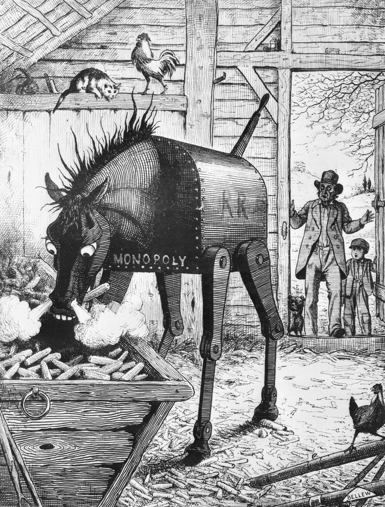 Detail of Illusional Depiction of Monopolizing Iron Horse Controlling Farmers by Corbis