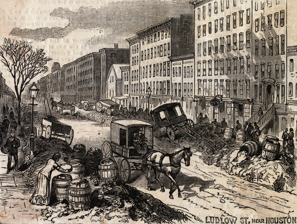Detail of Carriage Passing Through Unsanitary Street Conditions by Corbis