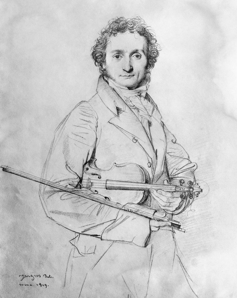 Detail of pencil sketch of niccolo paganini by jean auguste dominique ingres