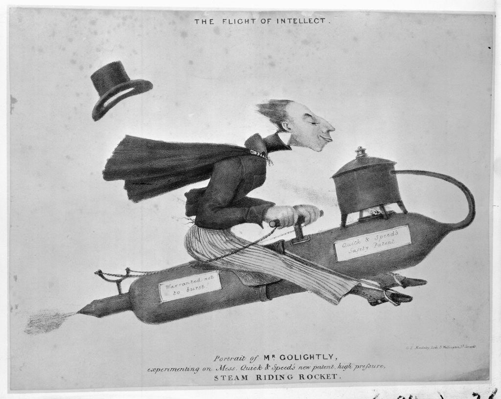 Detail of Man on Flying Machine by Corbis