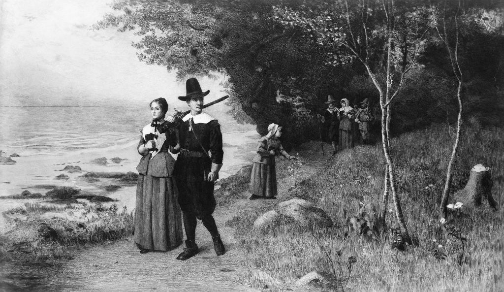 Detail of Engraving of Puritans Walking to Church by J.S. King