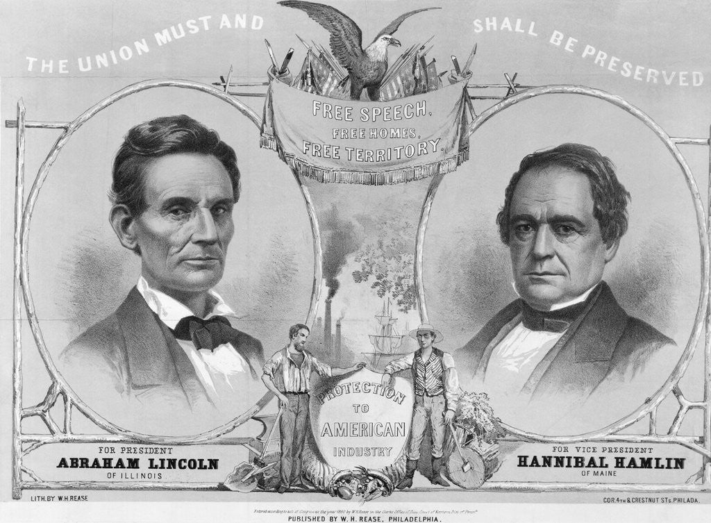 Detail of Election Poster with Abraham Lincoln and Hannibal Hamlin by Corbis