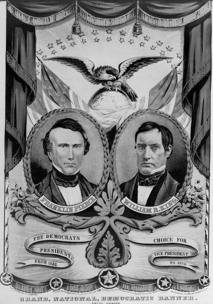 Detail of Franklin Pierce and William King on Election Poster by Corbis