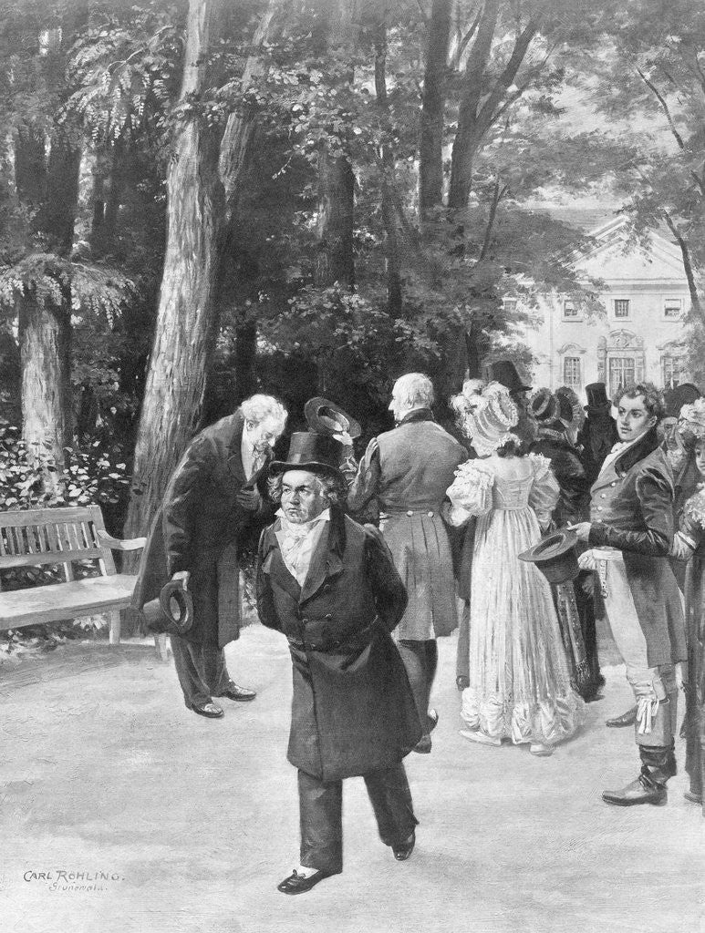 Detail of Illustration of Goethe and Beethoven with Crowd Outdoors by Carl Rohling