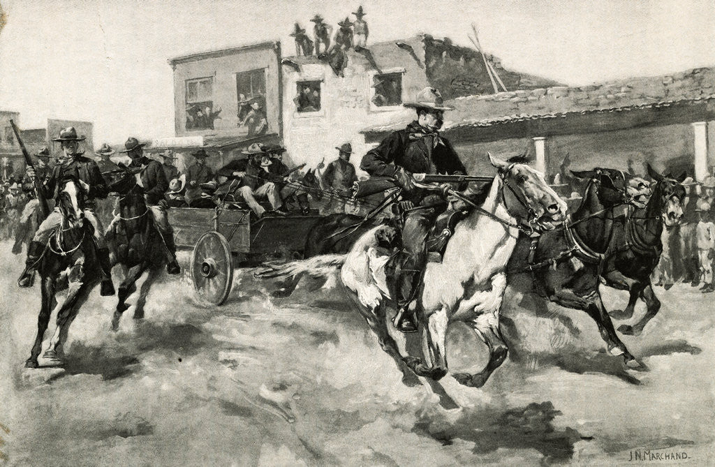 Detail of Billy the Kid Going to Jail by J. N. Marchand