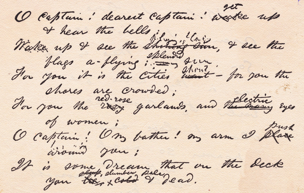 Detail of Display of Poem by Walt Whitman on Abraham Lincoln's Death by Corbis