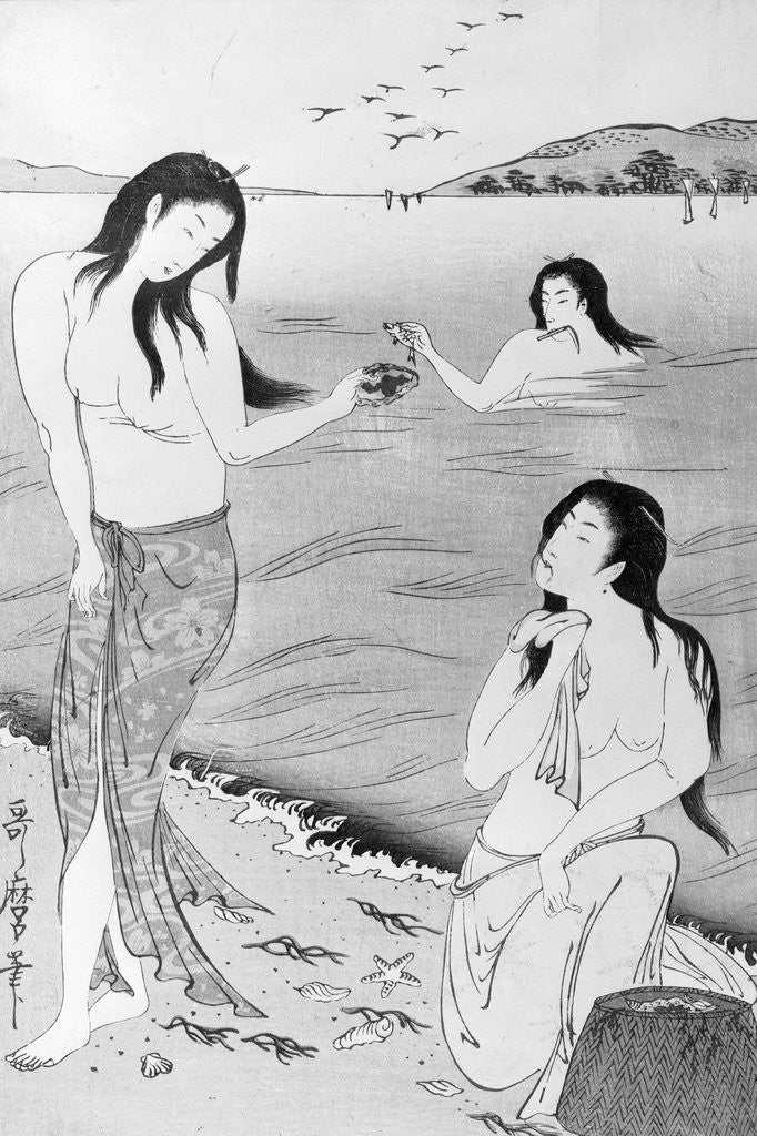 Detail of woodblock print of japanese female pearl divers by corbis