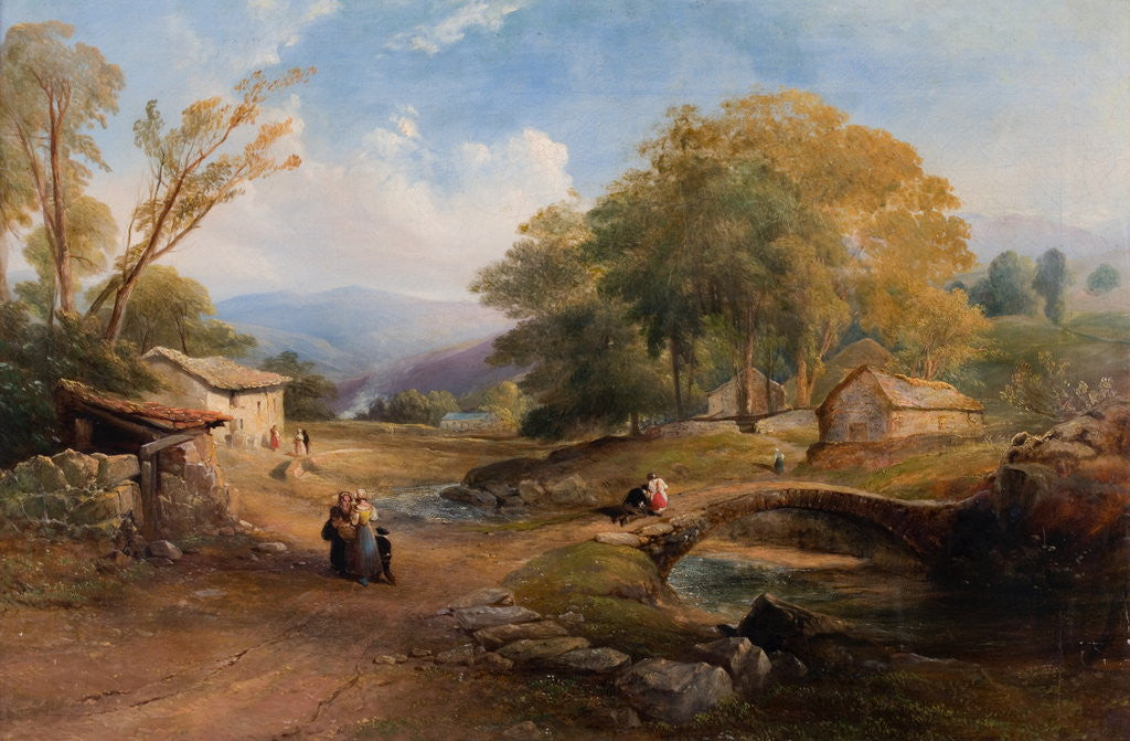 Detail of Landscape, Bridge and Figures by Thomas Miles Richardson Senior