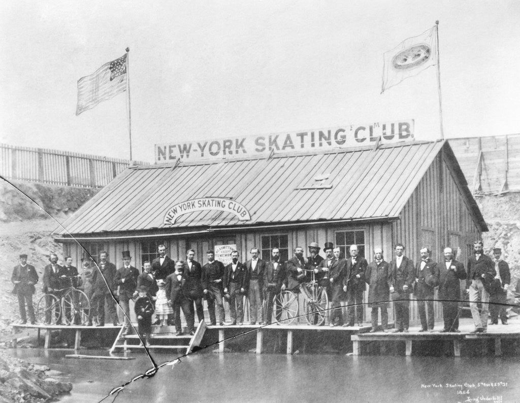 Detail of Skating Members in Front of Clubhouse by Corbis