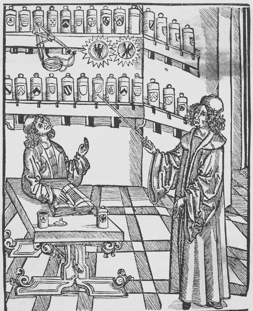 Detail of Illustration Depicting Doctor and Apothecary by Corbis
