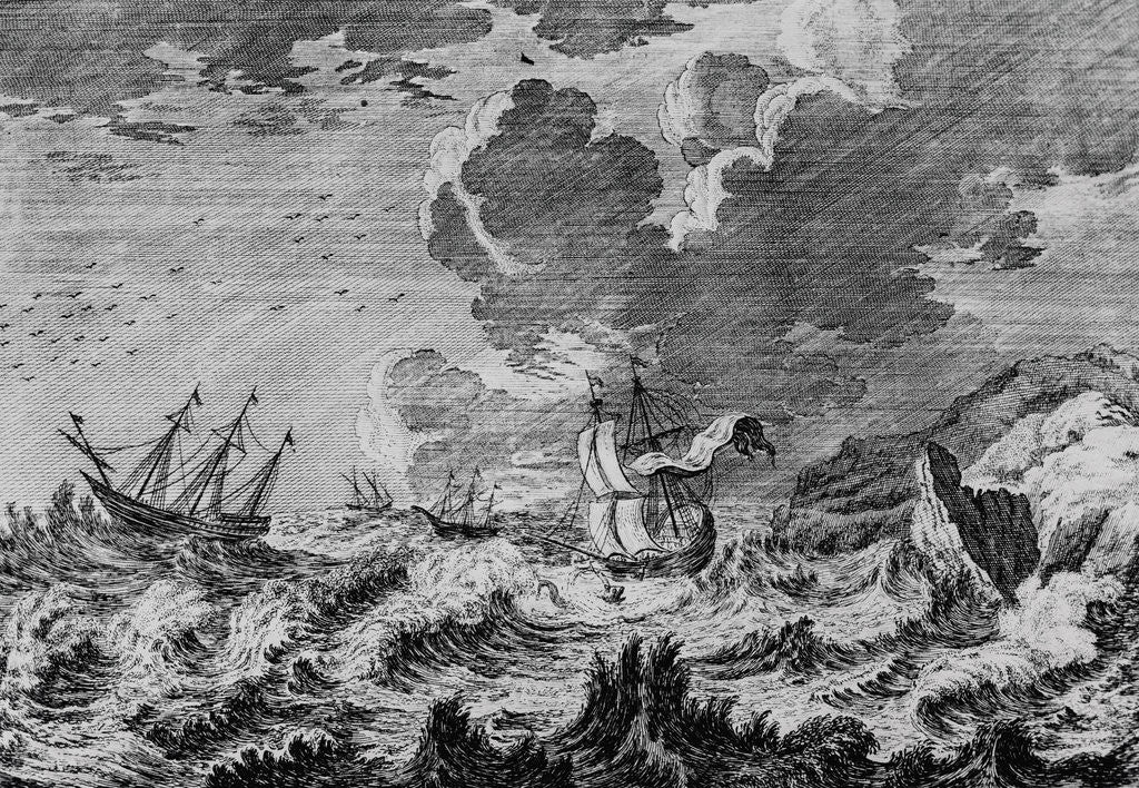 Detail of Ships in Stormy Sea by Corbis