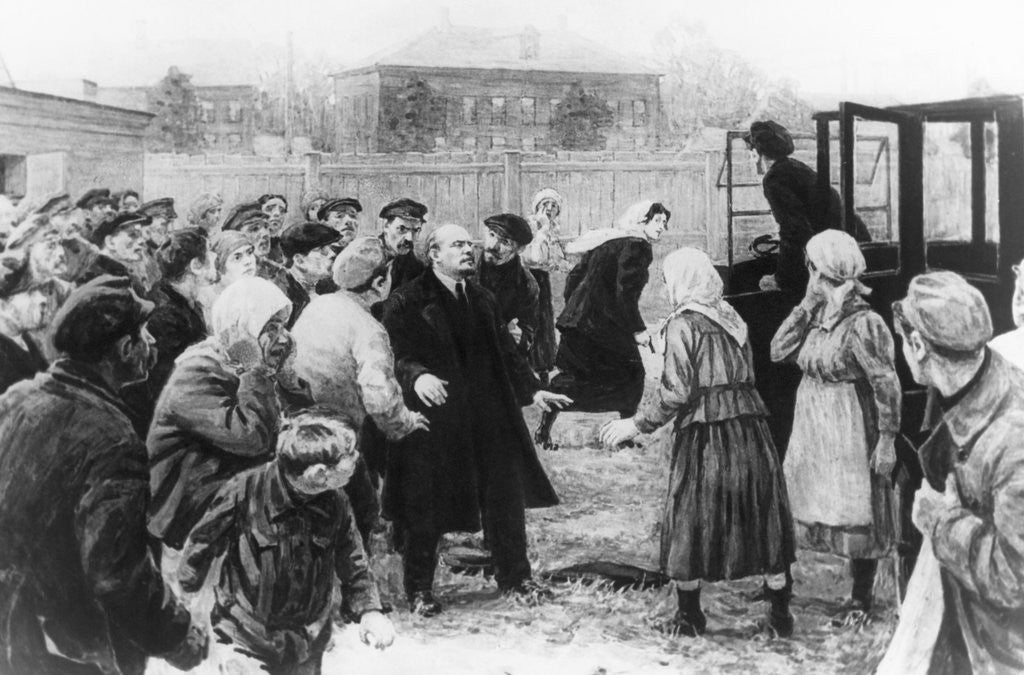 Detail of Attempted Assassination of Vladimir Lenin While Speaking to Crowd by Corbis