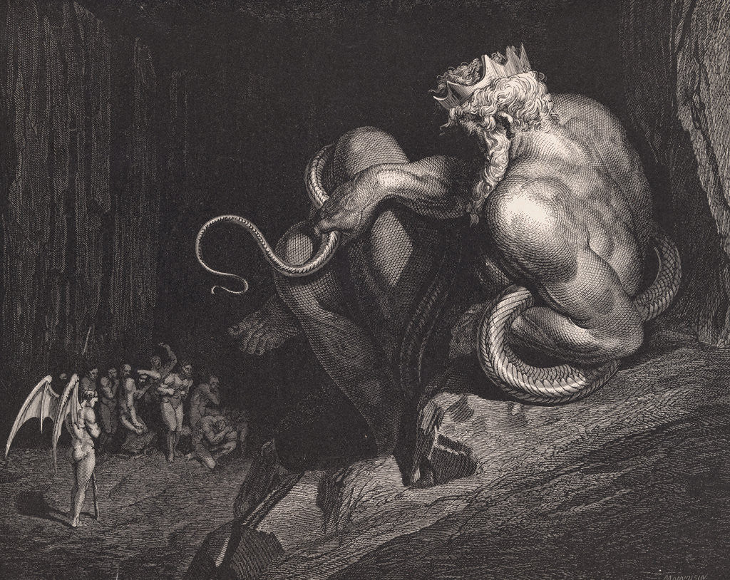 Detail of Engraving of Minos by Gustave Dore