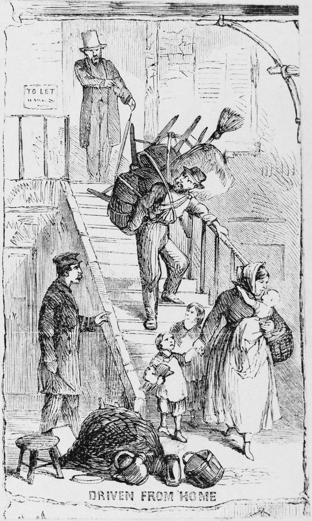 Detail of Illustration of a Landlord Evicting Tenants by Corbis