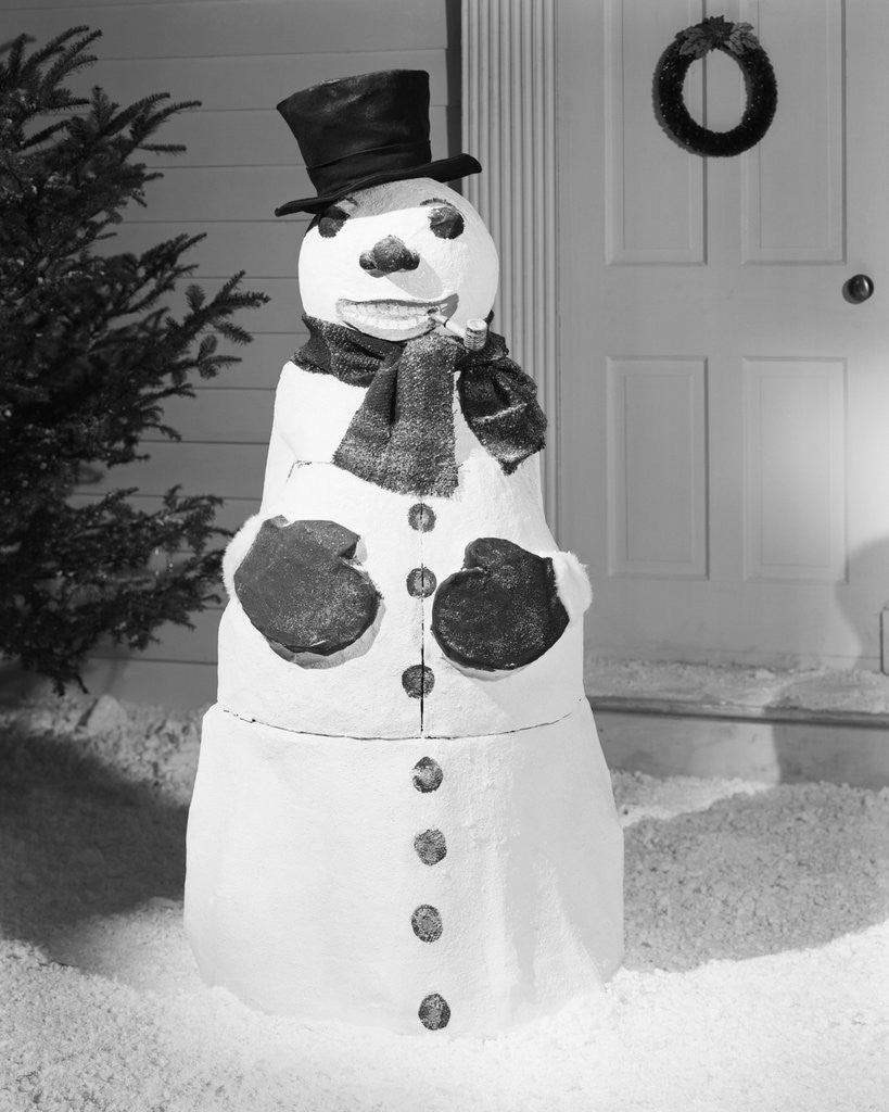 Detail of Dapper Snowman Outside a House by Corbis