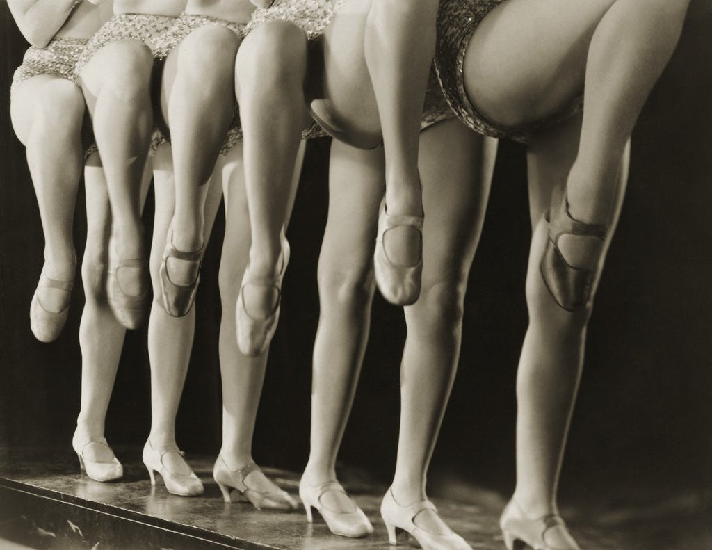 Detail of Chorus Girls Lining Up Showing Legs by Corbis