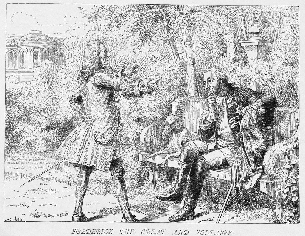 Detail of Frederick the Great and Voltaire Print by Corbis