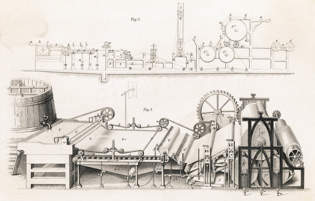 Detail of Illustration of Paper Making Machine by Corbis