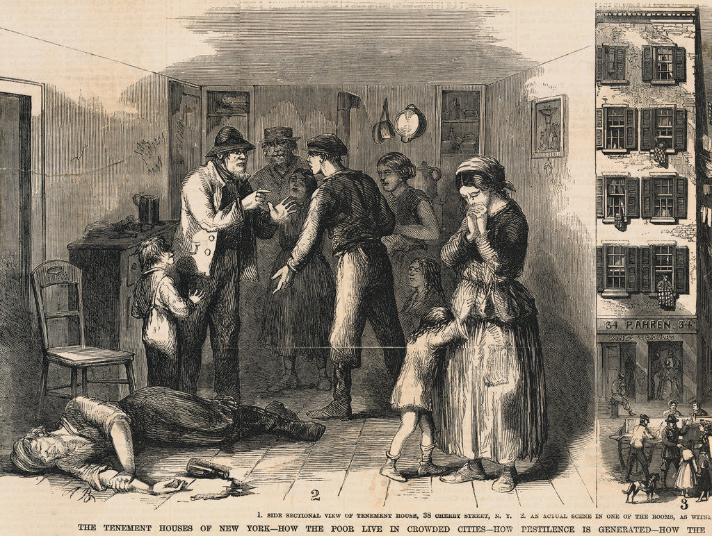 Detail of Illustration of Family Distraught over Drunk Father on Floor by Corbis