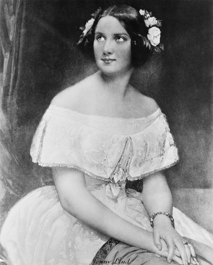 Detail of Jenny Lind in a Painted Portrait by Corbis