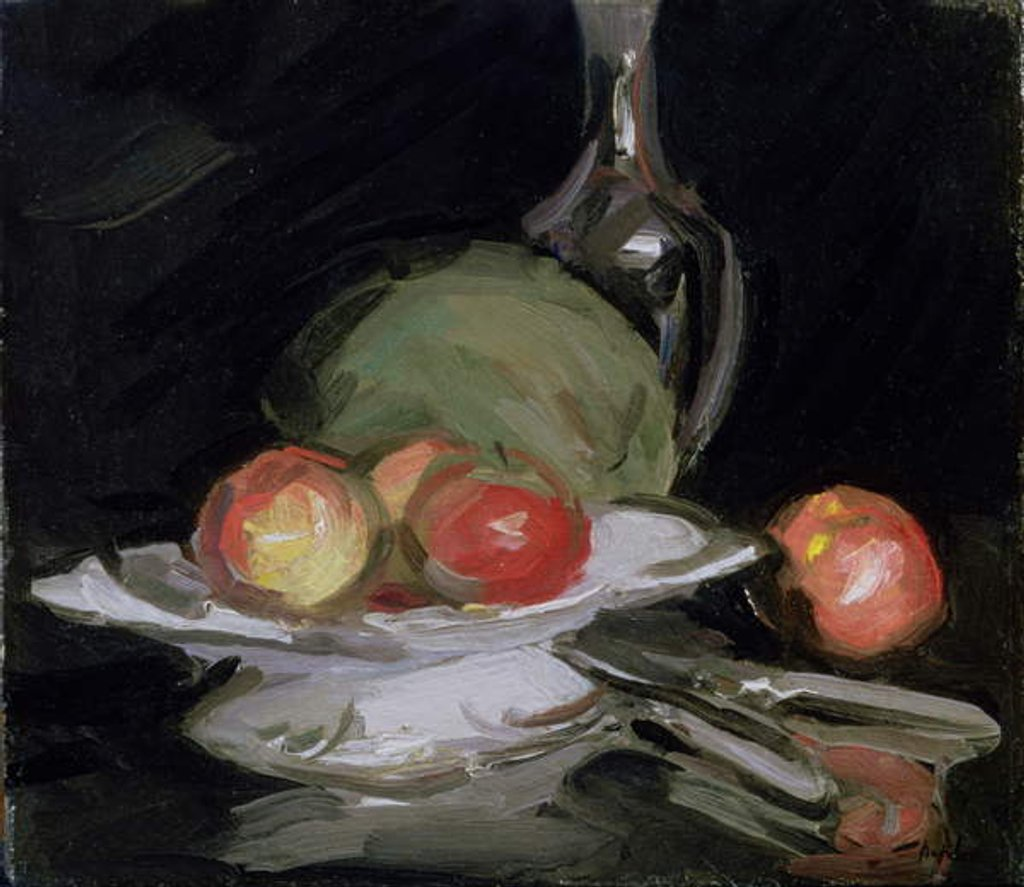 Detail of Still Life Bowl of Fruit, Melon and Carafe by George Leslie Hunter