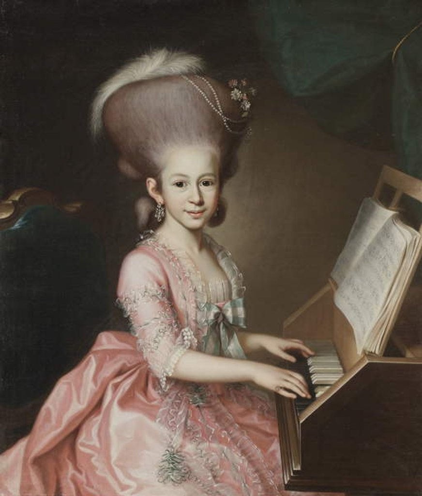 Detail of Portrait of a Young Lady at the Clavichord by Georg Anton Urlaub