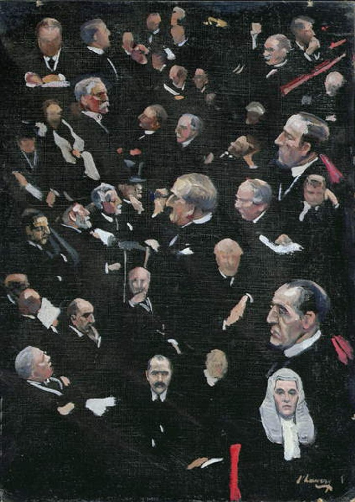 Detail of Studies in the House of Lords, Viscount Morley moving the Address, 14th December 1921 by John Lavery