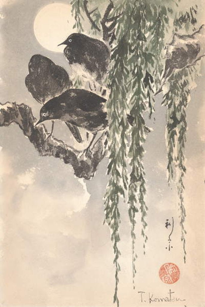 Detail of Three crows by Japanese School