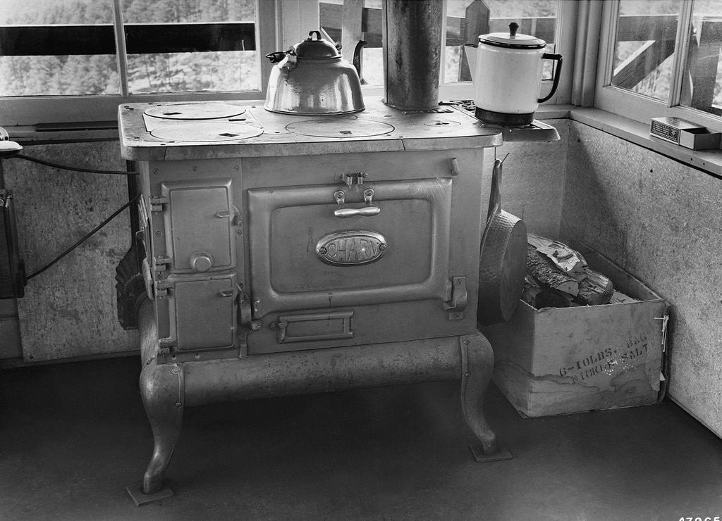 Detail of Wood Stove in Bullock Lookout by Corbis