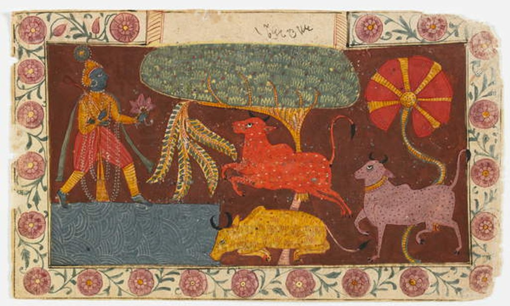Detail of Krishna and Cows at a Pond, from a Bhagavata Purana by Indian School