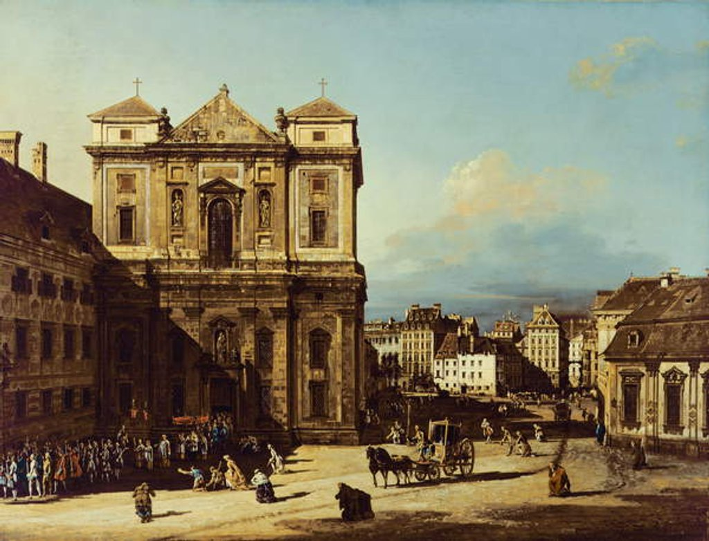 Detail of The Freyung in Vienna, view from the Northwest, c.1758 by Bernardo Bellotto