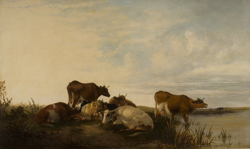 Detail of Landscape with Cattle in Marshland by Thomas Sidney Cooper
