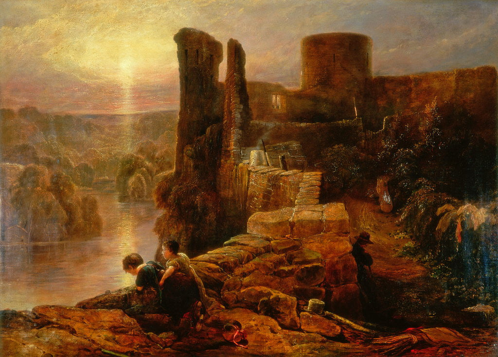 Detail of Barnard Castle by Thomas Miles Richardson Senior