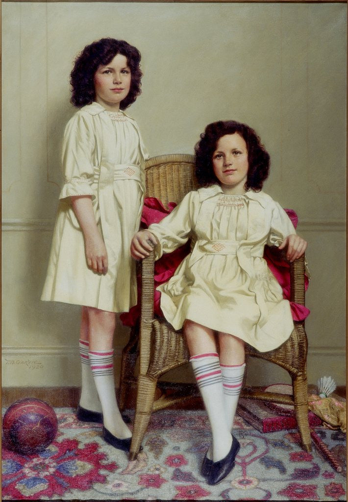 Detail of The Twins (Winifred and Leonora Reid) by Thomas Bowman Garvie