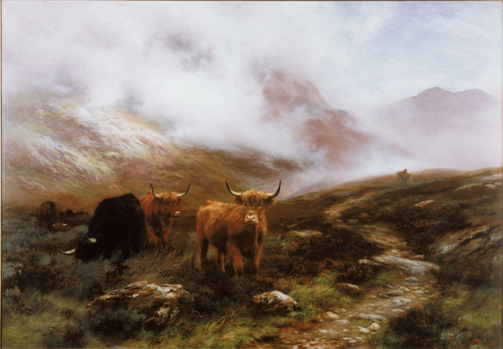 Detail of Landscape with Cattle by Peter Graham