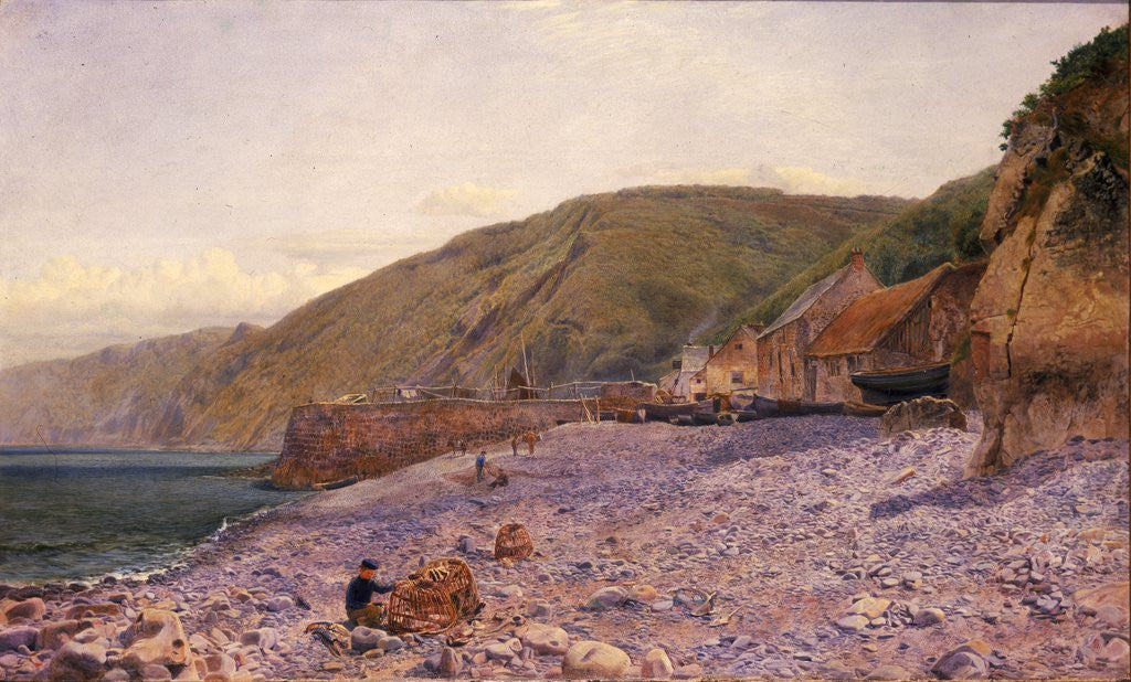 Detail of Among the Shingle at Clovelly by Charles Napier Hemy