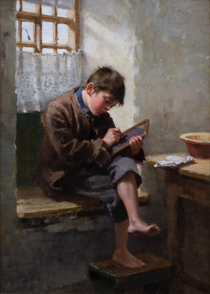 Detail of Home Lessons by Ralph Hedley