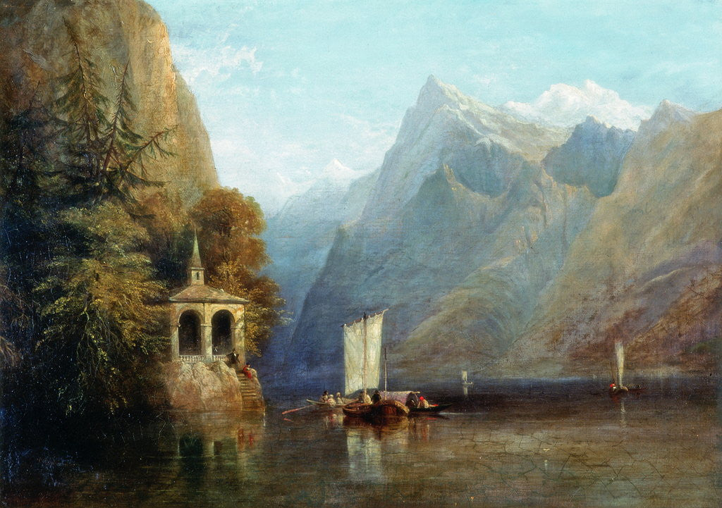 Detail of Lake Lucerne with William Tell's Chapel by Thomas Miles Richardson Senior