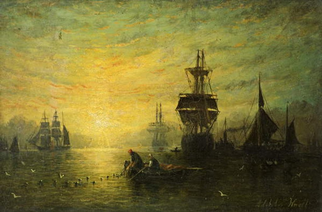 Detail of Sunset with Boats, 1875 by William Adolphus Knell
