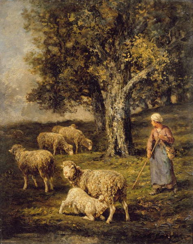 Detail of A Shepherdess and Sheep in a Barbizon Landscape by Charles Emile Jacque