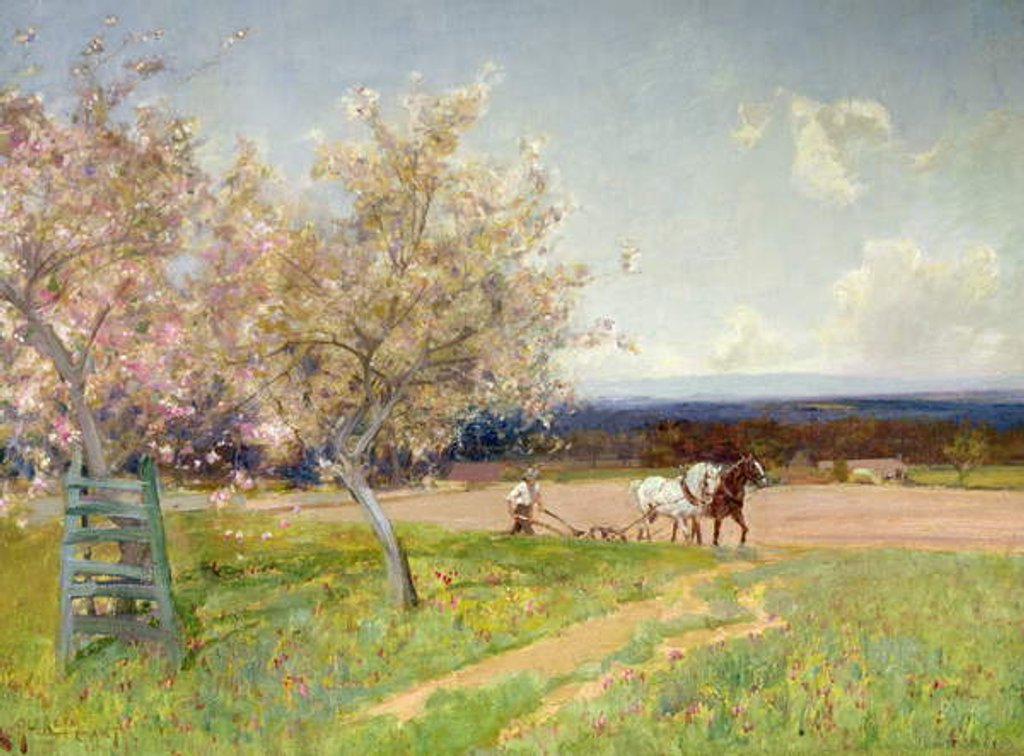 Detail of Springtime Ploughing, c.1900 by Alfred East