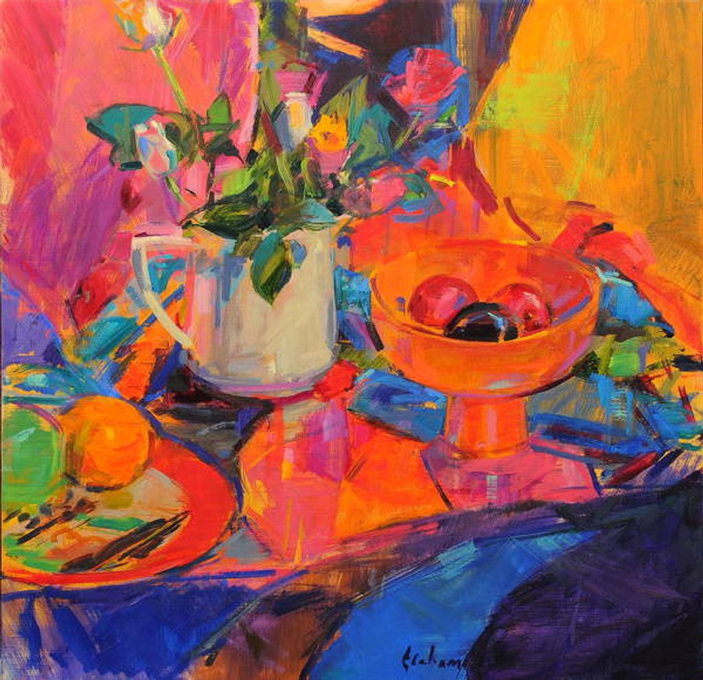 Detail of Still Life with Bloomingdale's Bowl by Peter Graham
