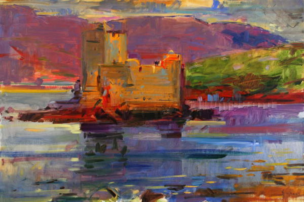 Detail of Kisimul Castle and Vatersay, 2012 by Peter Graham