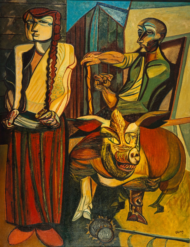 Detail of Figures in a Farmyard by Robert Colquhoun