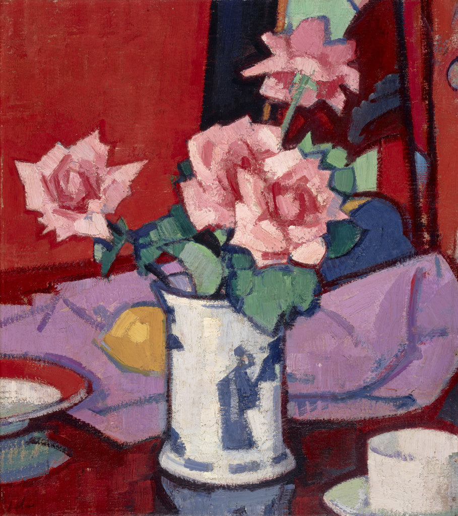 Detail of Pink Roses, Chinese Vase by Samuel John Peploe