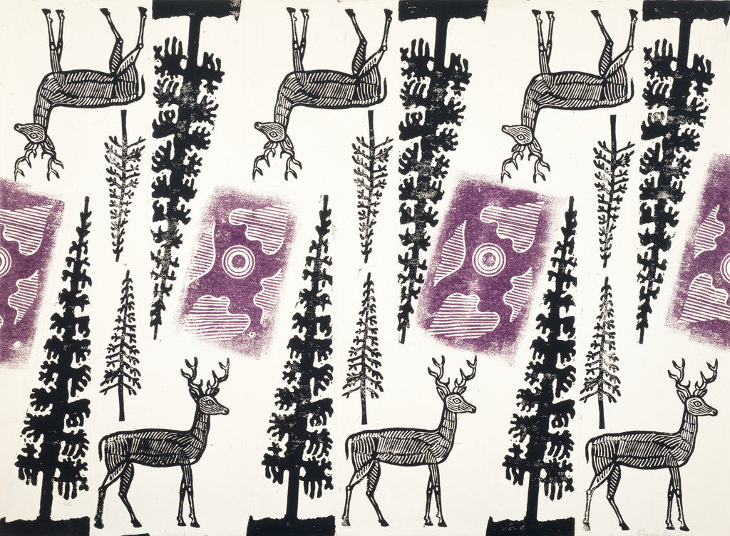 Detail of Design for Wrapping Paper (Deer and Trees) by Edward Bawden