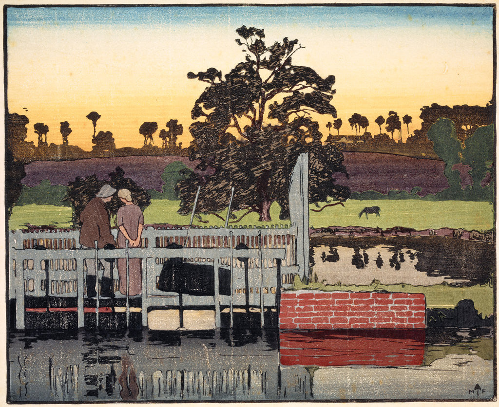 Canal Landscape with Two Figures by Frank Morley Fletcher